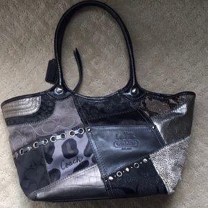 Authentic black/silver/grey coach patchwork bag